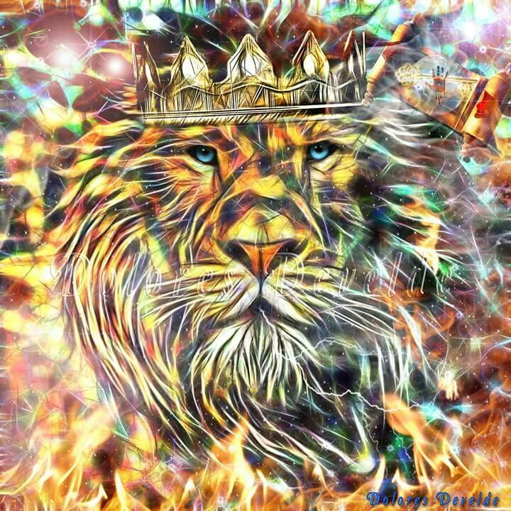 Lion of Judah with crown on and splashes of color. Delores DeVelde art!