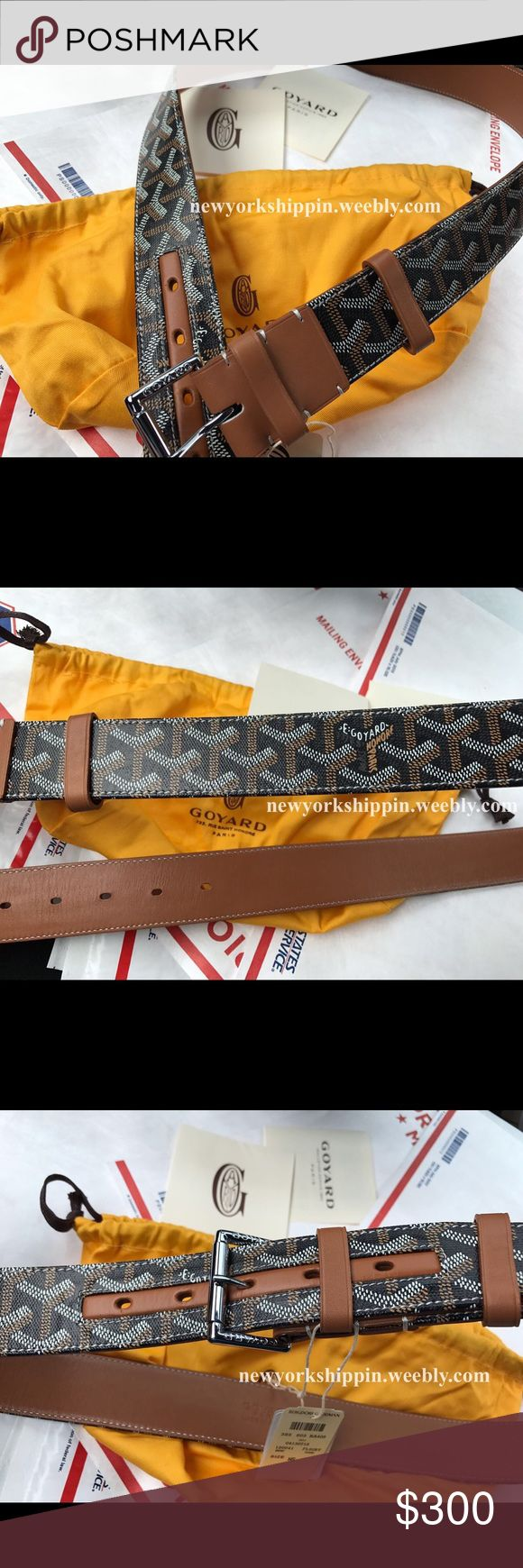 Brown monogram goyard belt Official men's brown monogram goyard belt. Visit website to purchase for $119.99 including priority shipping. PayPal Accepted. 1-3 days delivery. Shop with confidence. 100% Satisfaction Guaranteed. Goyard Accessories Belts