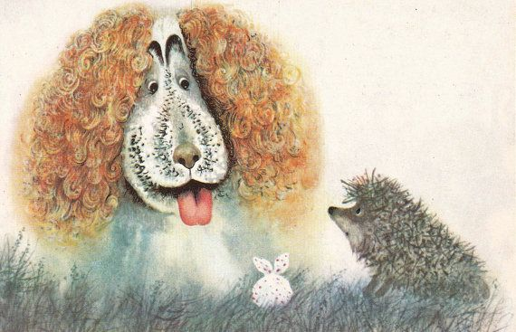 Hedgehog in the Fog Print from USSR Cartoon  by RussianSoulVintage