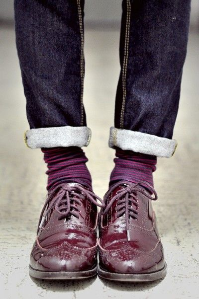 Burgundy shoes for a trendy fall look.