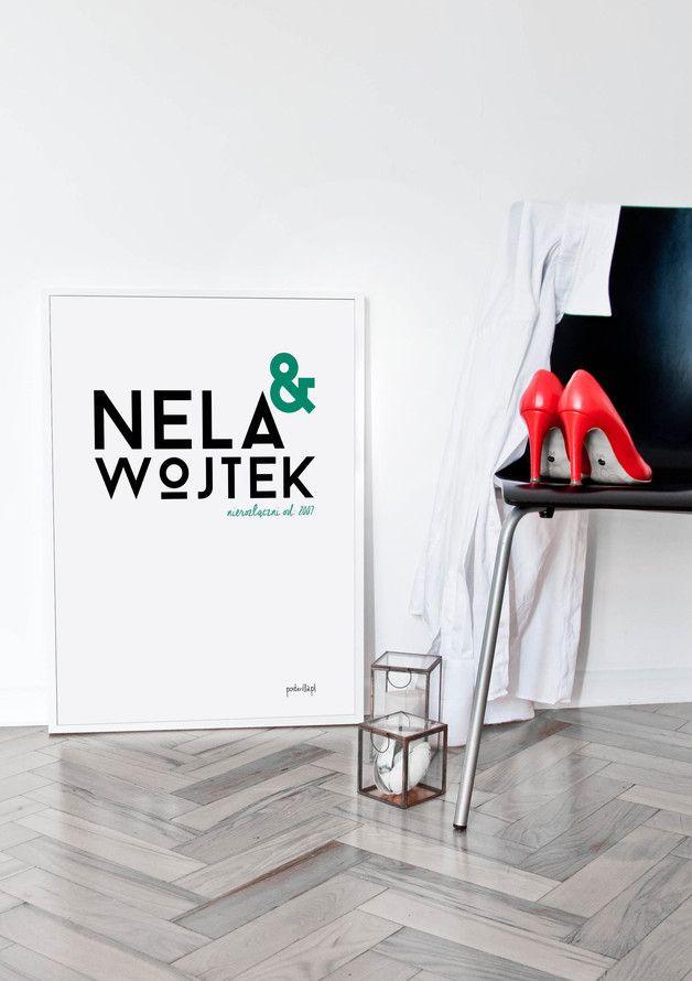 Plakat do personalizacji: Ja&Ty od zawsze - posterilla - Ozdoby na ścianę