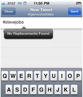 Autocorrect tribute to #SteveJobs