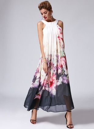Chiffon Floral Sleeveless Maxi Casual Dresses