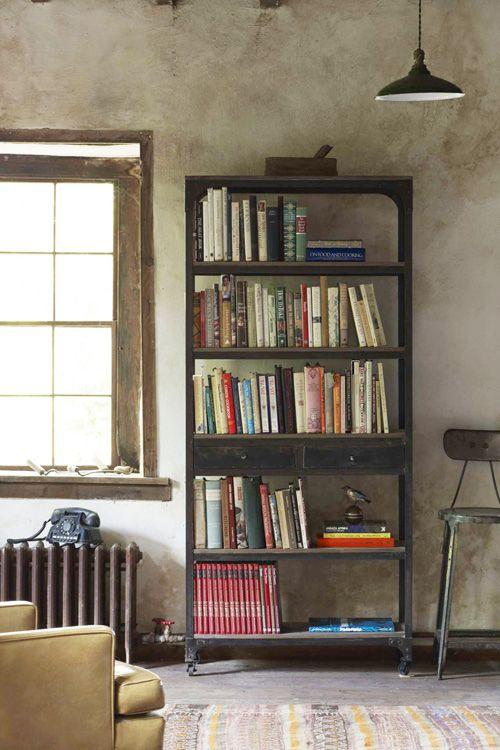 BooksWall Colors, Garages Shelves, Bookshelves, Bookcases, Wood Floors, Decker Bookshelf, Industrial Chic, Book Shelves, Industrial Style