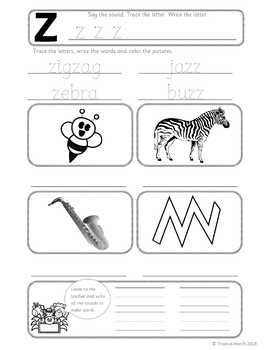 Phonics Worksheets, Lesson Plan, Flashcards | Jolly Phonics Letter Z ...
