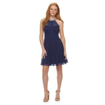 Kohls Juniors' Speechless Illusion Neckline Halter Skater Dress