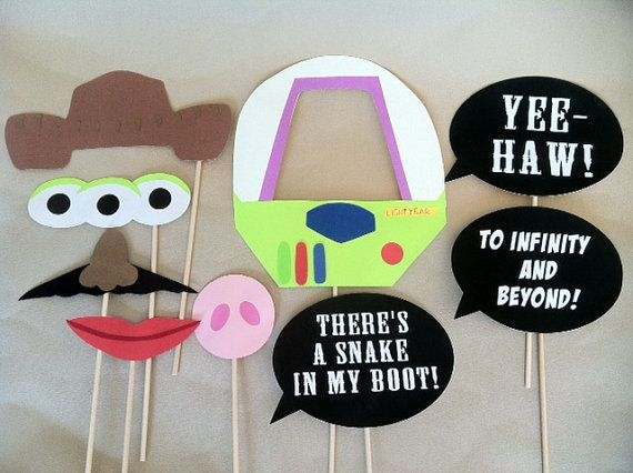 Toy Story Photo Booth Props - not an auction item, but I think it would be cute to do a photo booth. We could do several - toy story, shrek, one or more of the princess stories, several more really!  Would also be a great idea for a kid's birthday party!