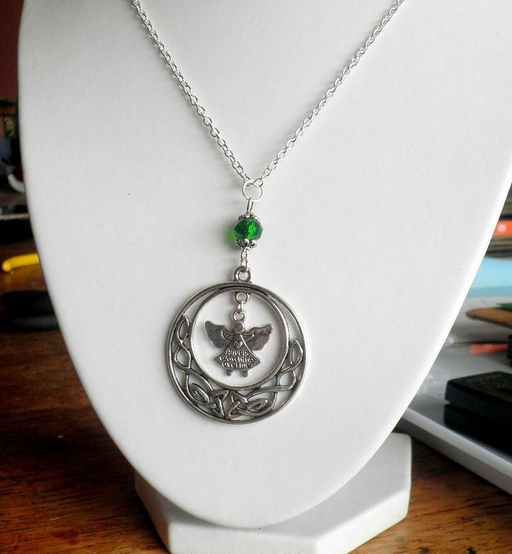 Excited to share the latest addition to my #etsy shop: Celtic Circle of Life, Angel Charm, Faceted Emerald Bead, Sterling Silver chain. http://etsy.me/2iYjWGV