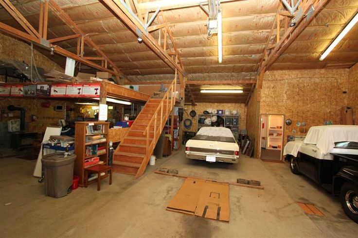 Storage loft in garage garage shop man cave pinterest for Shop with loft
