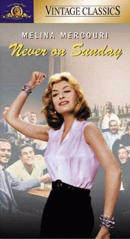 The film Never on Sunday is a 1960 Greek black and white romantic comedy film.  The film stars were Melina Mercouri and Jules Dassin, and it gently submerges the viewer into Greek culture. The signature song of the movie became a hit in the 1960s.  It was X-rated in the UK and it was the first X-rated film that I saw.