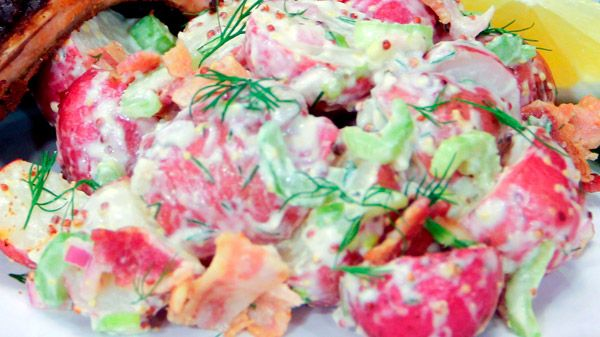 This is the perfect creamy potato salad to accompany Chef Jonathan Collins' baby back ribs and cabbage slaw. Ingredients Salad 3 lbs mini new red potatoes or fingerlings 1 cup celery heart, finely chopped ½ cup red onion, finely...