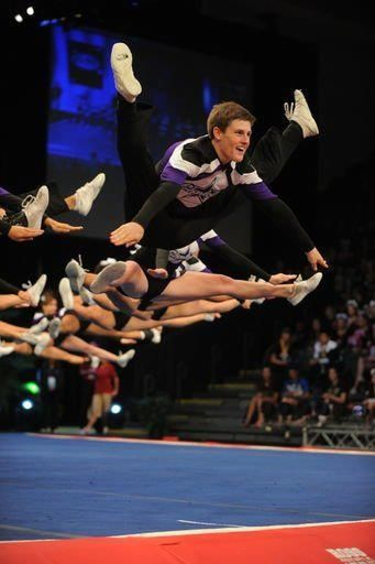 Making it look easy! (I will say those are some perfectly sequenced jumps!) I'm guessing they won this competition!