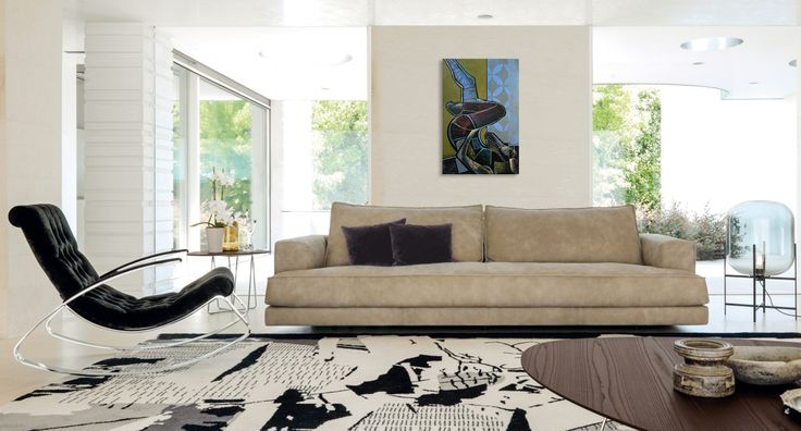 Simple and elegant interior and art -  comfortable and modern Italian sofa. Wnętrze i obraz, creative & unique. Contemporary painting of a woman - 'Money can't buy 4 by @anialuk_art