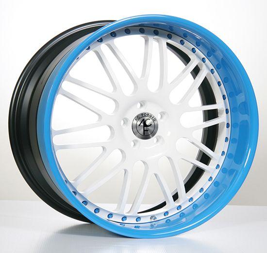 Image of 19inches20inches22inches24inches inch AC Forged AC311 WT/Blue 3 piece Rims Wheels
