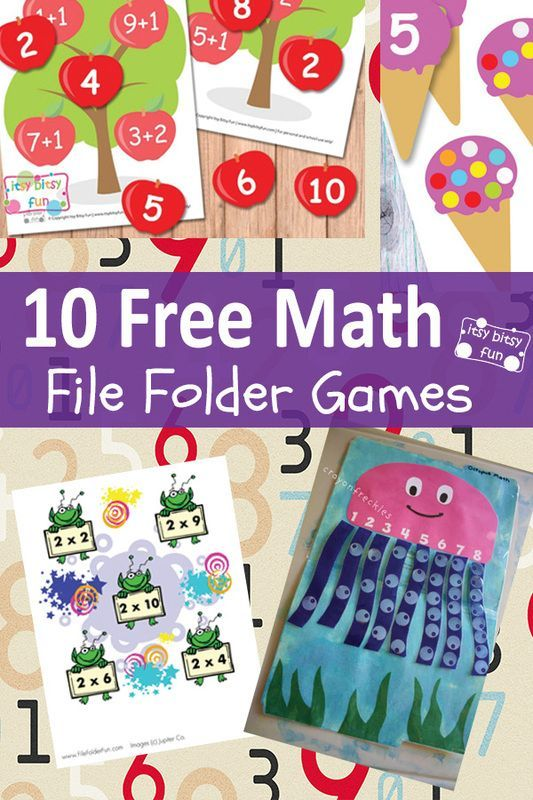 "Spice up math practice with these free printable file folder games! (via ""Itsy Bitsy fun"")"