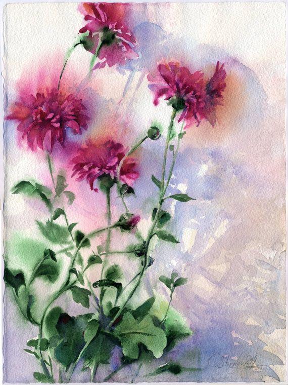 Aquarelle de fleurs pourpres les asters violets par OlgaSternyk