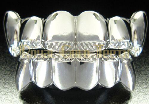 Type : Top & Bottom Grillz - Silver Grillz Model: TBS-911 Price: $199 Description: 6pc top + 6pc bottom  http://www.royalgoldteeth.com/
