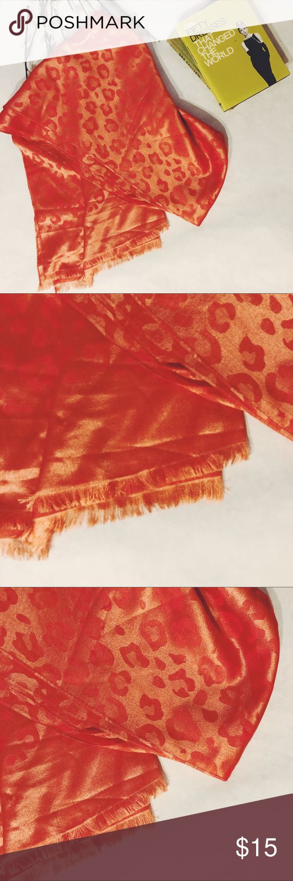 Silky coral scarf Tonal leopard pattern Accessories Scarves & Wraps