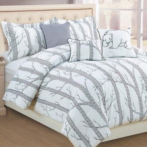 YUKON Comforter Set (White/Grey)