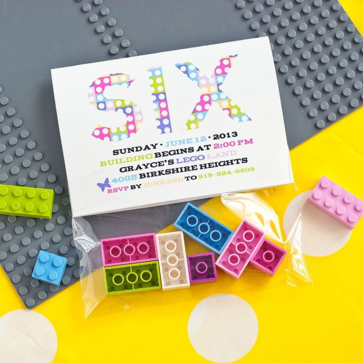 Lego friends loving little girls can have an adorable party with this Modern Building Bricks Girls Birthday Party Printable Invitation - Folding Bag Topper