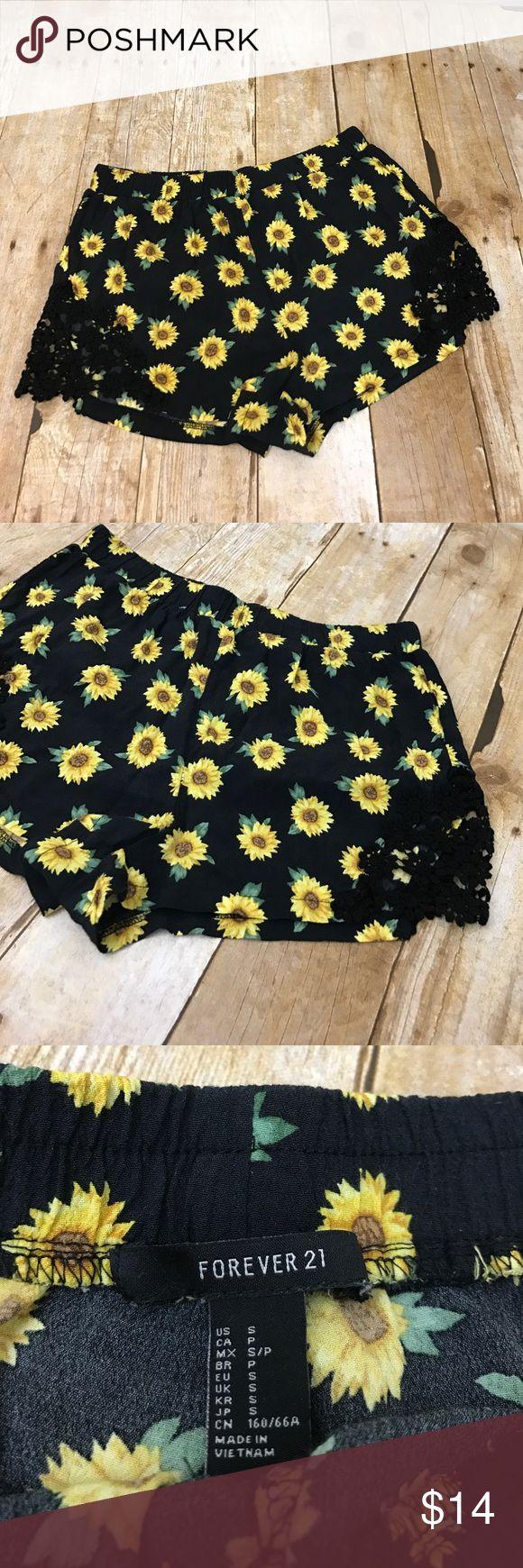 Forever 21 Sunflower Summer Vibes Crochet Shorts S Forever 21 Brand - Size Small - Sunflower Print - Crochet flower detail on thighs - excellent condition - FAST SHIPPING !! Forever 21 Shorts