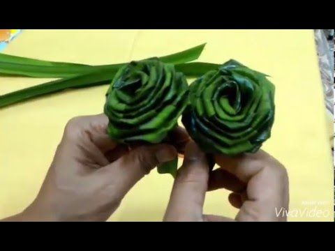 how to make a rose out of palm tree leaves