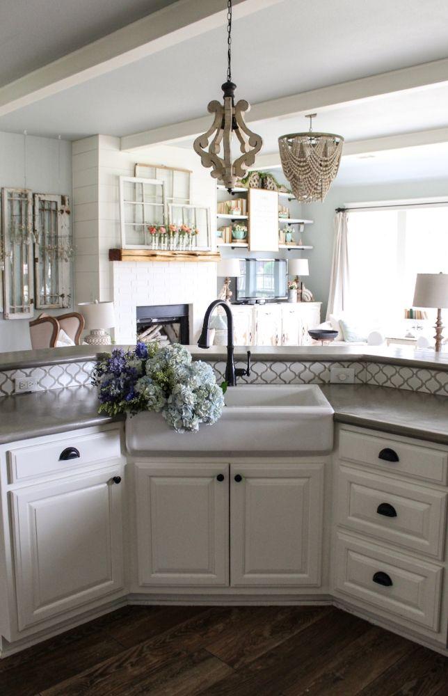 Cottonstem Com Farmhouse Kitchen Sink Concrete Countertops Spring Flowers