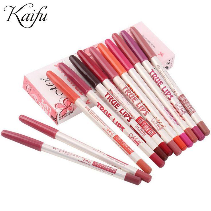 12 sztuk/partia 15 CM 12 Kolory/Zestaw Wodoodporny Eyeliner Pencil Zawodowa kobiet Długotrwałe Lipliner Makijaż Usta narzędzia