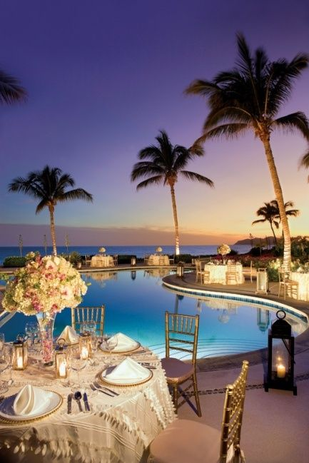 Poolside Reception (color scheme does not match, but the idea of round tables around pool)