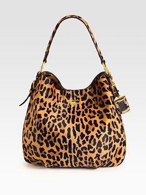 Prada Cavallino Leopard-Print Hair Calf Hobo