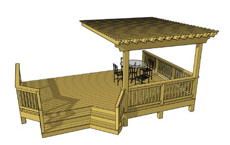 This deck design features an overhead pergola that covers one side of the deck and a an angled staircase. This deck provides enough space for a grilling area and a dining area. Diagonal decking may be used to eliminate splicing deck boards and to add an interesting aesthetic