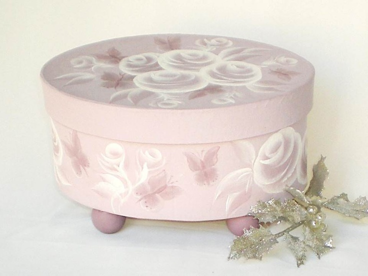 Hat Box - Painted Orchid Roses and Butterflies Oval Decorative Storage Box…