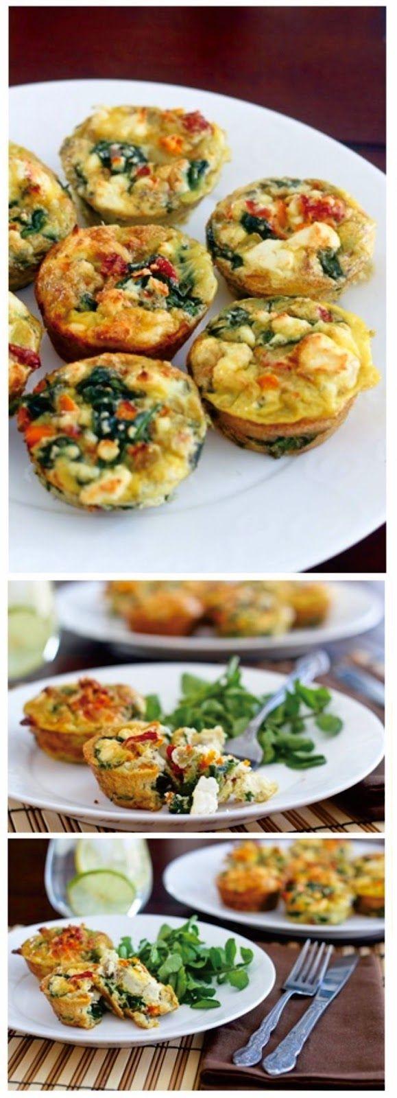 Spinach, Sundried Tomatoes and Feta Frittata Bites | Kitchen Vista's