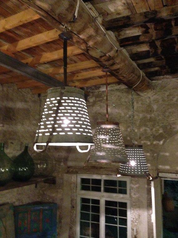 Rustic Metal Olive and grape bucket basket lamplighting by Eskiden, $85.00