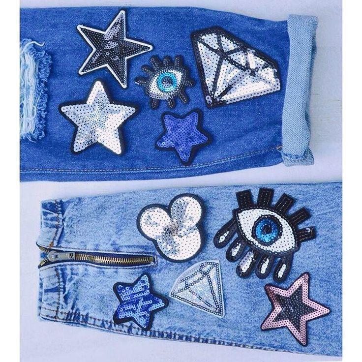Perfect Patches 💎  shining sequined patch collection szputnyik stars eyes gem diamond accessories blue denim