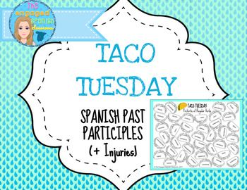 Spanish past participles, los participios pasados, regular past participles, irregular past participles, Spanish game, Spanish class games, Spanish conjugation game, Spanish word race, Taco Tuesday, conjugation practiceSpanish Past Participles TACO TUESDAY Conjugation Game (includes injury words)This is a quick and simple game that gets students competing to identify vocabulary words or verb conjugations.