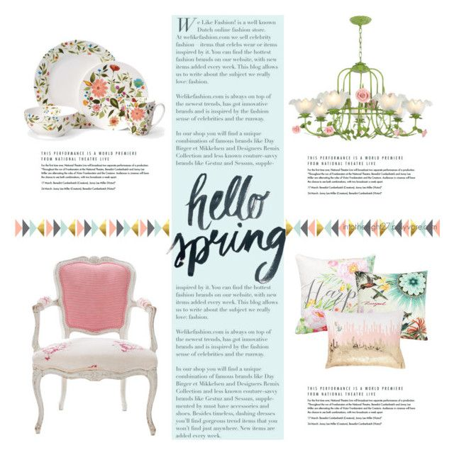 """#253 - Spring Florals"" by intothenight27 ❤ liked on Polyvore featuring interior, interiors, interior design, home, home decor, interior decorating, Antique, Desigual and PBteen"