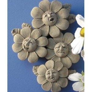 Hand Cast Stone Spring Quartet - Collectible Flower, Nature Face Plaque - Concrete Sculpture