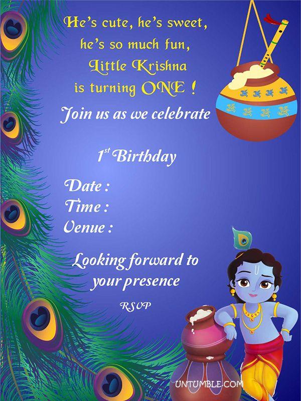 Unique Birthday Invitation Krishna Theme In 2019 First Birthday Invitation Cards Boy Birthday