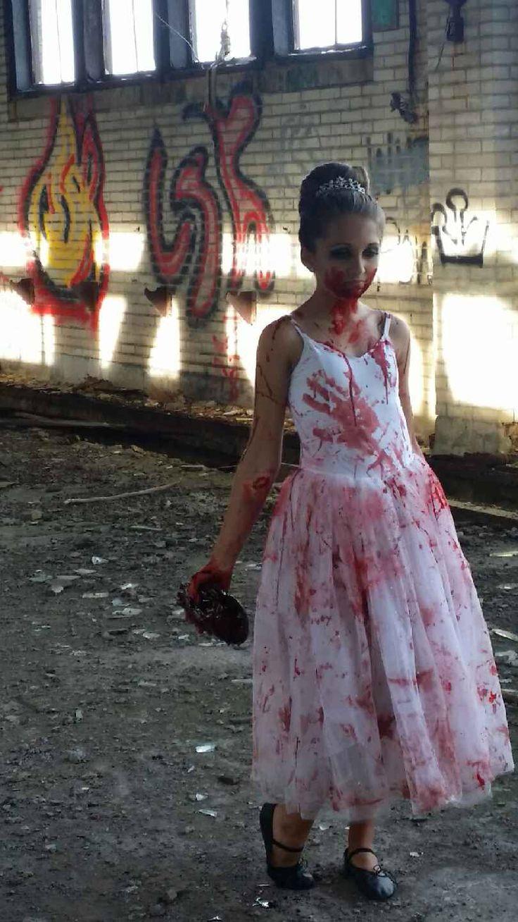 My little zombie ballerina the walking dead zombie Halloween makeup photography