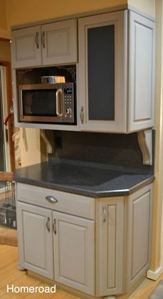 paris gray kitchen cabinet with chalkboard