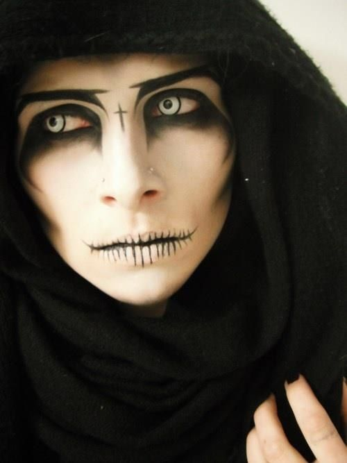 Eerie and fairly simple Halloween makeup. The contacts add a lot.
