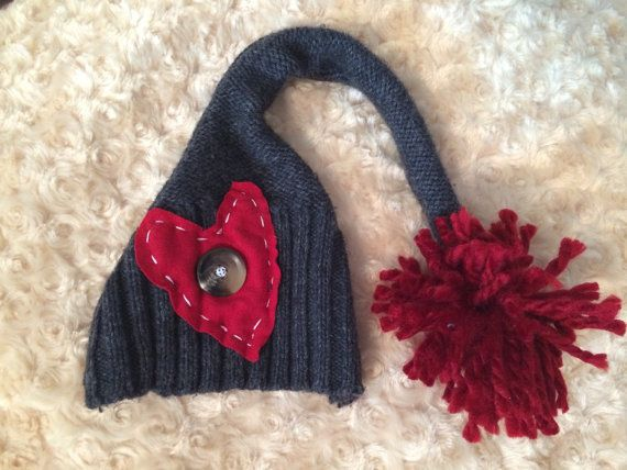 Newborn Photography Upcycle Heart Elf Hat by RyburnProps on Etsy