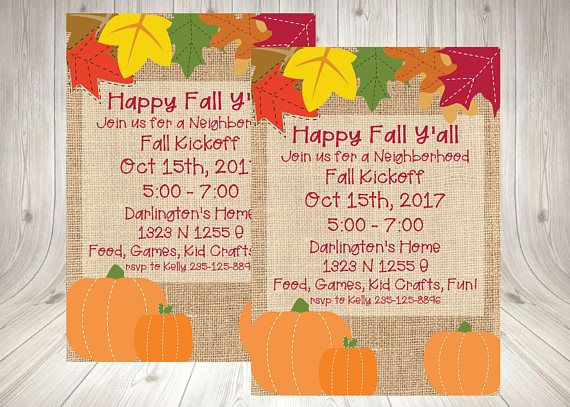 Neighborhood Fall Party Invitation / Block Party Invite / Fall Kick off Printable / Festival / Carnival / Pumpkin Carving  How the Process Works and What the Customer Receives  - Choose which invitation you would like for your event  - Purchase the invitation and in the notes to the seller please include   o Event details – Day of the week / Date/ Time / Place o Name of child or person event is for o Name and address where event is taking place o RSVP a...