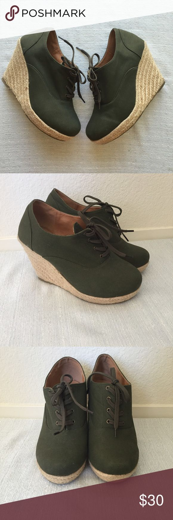 Torrid army green espadrilles tie up wedges 10 Gently used with some wear on the bottom. Torrid army green tie up espadrilles wedges size 10 torrid Shoes Wedges