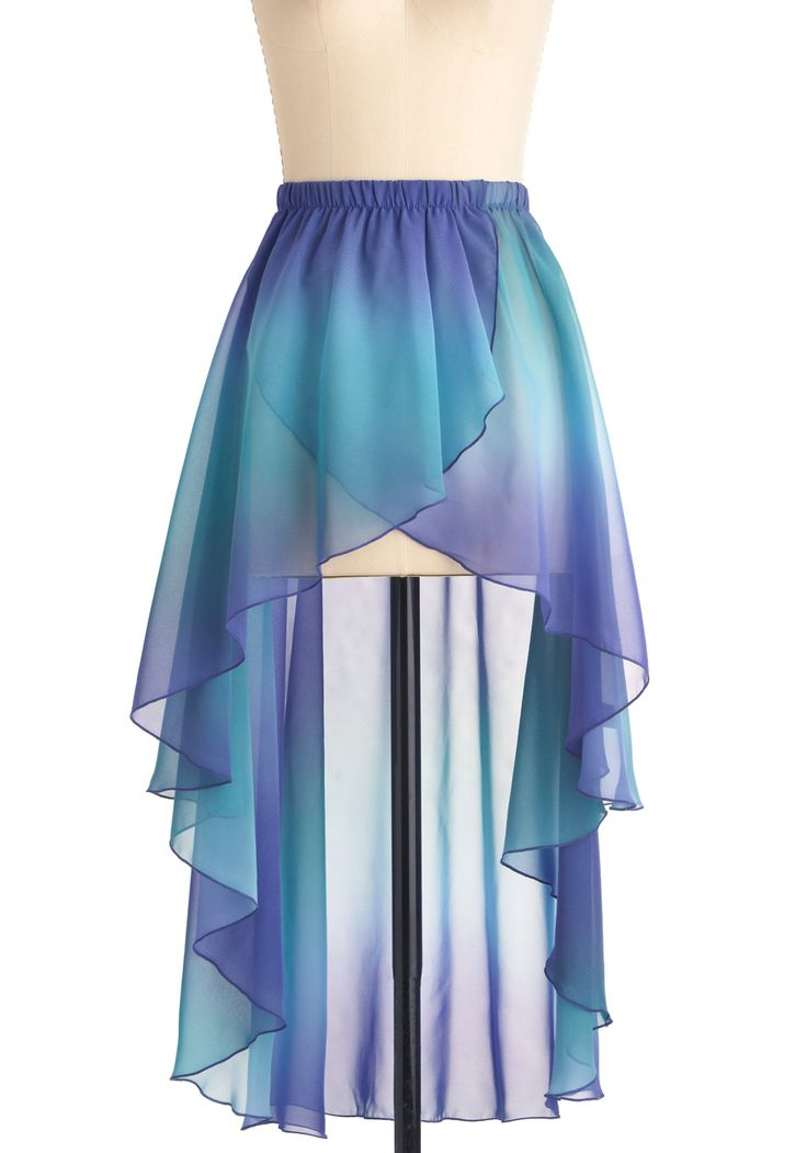 """Blue, purple, & teal green """"Mermaid For Each Other"""" high to low skirt with cascading scalloped hem from ModCloth. #ModCloth"""