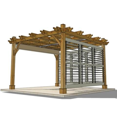 Outdoor Living Today - 12 x 12 Breeze Pergola with Retractable Canopy  and 2 Louvered Wall Panels