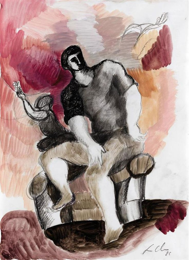 SANDRO CHIA -Untitled (Seated figures) Watercolor, ink and graphite on paper. 1985.