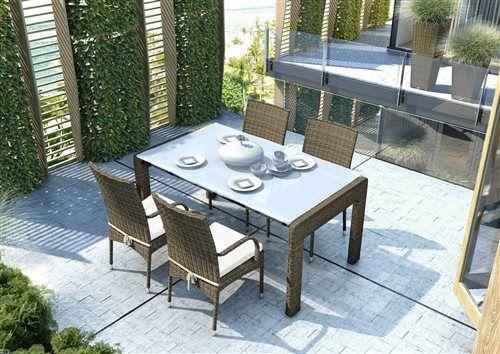 tramonto sada stoliciek  prato stol 160 cm z umeleho ratanu pieskova