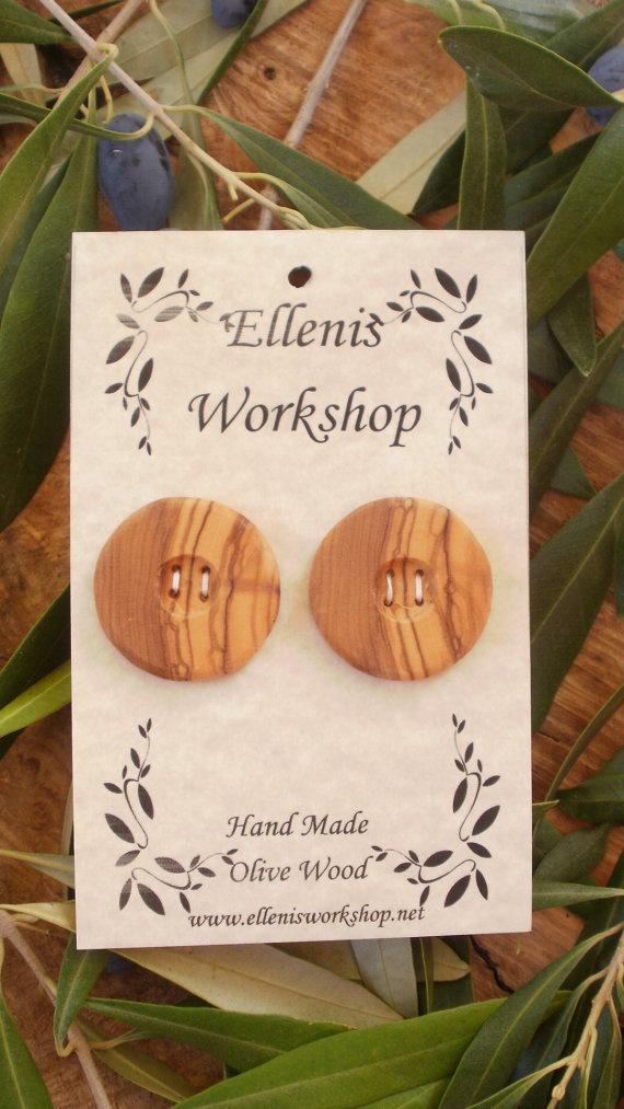 Set of two Hand made Greek olive wood round by ellenisworkshop, $14.00